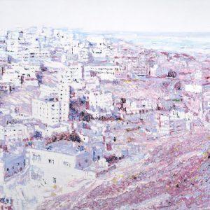 Ein Foto, in weißen und rosanen Farbtönen bemalt, man sieht eine Stadt aus der Voeglperspektive