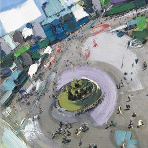 Ein Foto, bunt bemalt, man sieht einen großen Platz in Vogelperspektive, mittig drauf ein begründet Rondell, im Hintergrund die Stadt