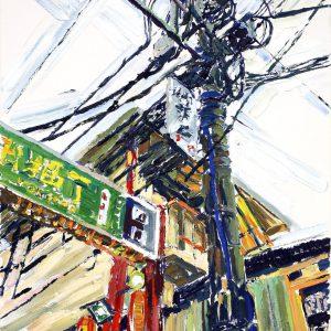 Ein Foto, bunt bemalt, ein Mast mit vielen Stromleitungen, links davon ein Werbeschild mit asiatischen Schriftzeichen