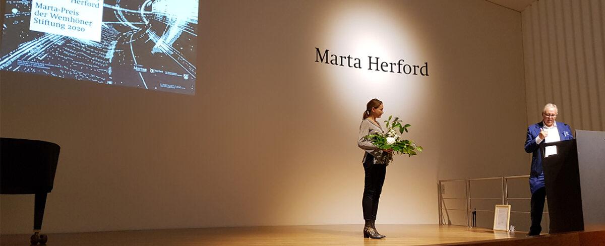 Brigitte Waldach und Heiner Wemhöner bei der Preisverleihung 2020 © Marta Herford